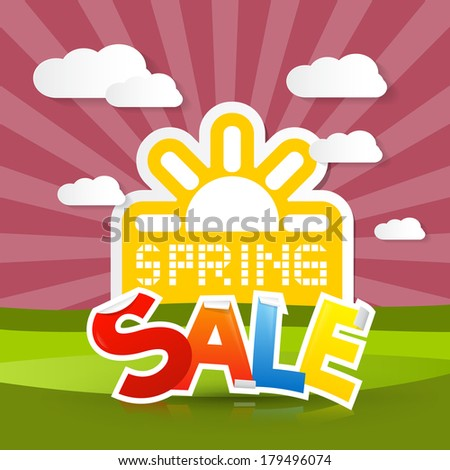 Spring Sale Background with Sun, Meadow, Hills, Sky, Clouds