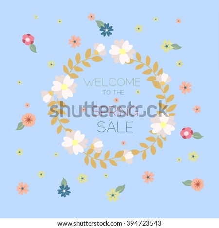 spring sale, badge, banner, floral background