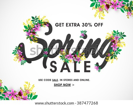 Spring Sale Banner, Sale Poster, Sale Flyer, Sale Vector. 30% Off, Vector illustration. - stock vector