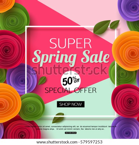 spring sale banner template with paper flower on colorful background vector illustration