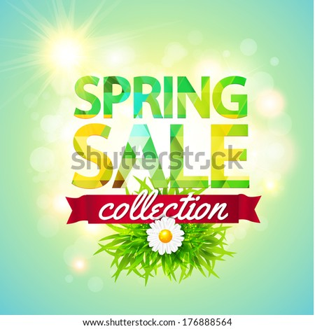 Spring Sale collection. Vector background with sun, chamomile, grass and ribbon. Text design. - stock vector