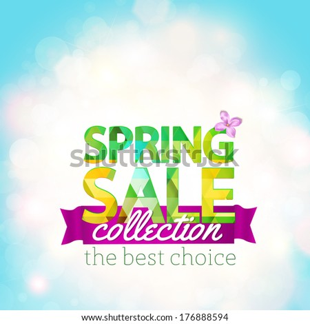 Spring Sale collection. Vector background with sun, lilac and ribbon. Text design. - stock vector