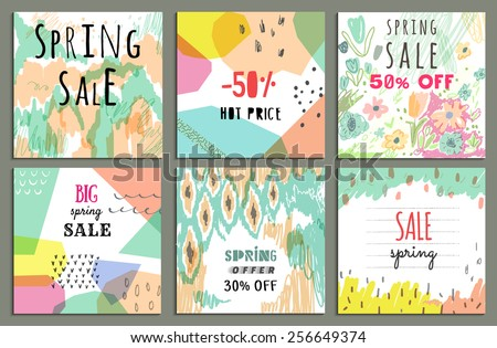 Spring sale design. Collection of six hand drawn unusual posters. Beautiful freehand colorful illustration - stock vector