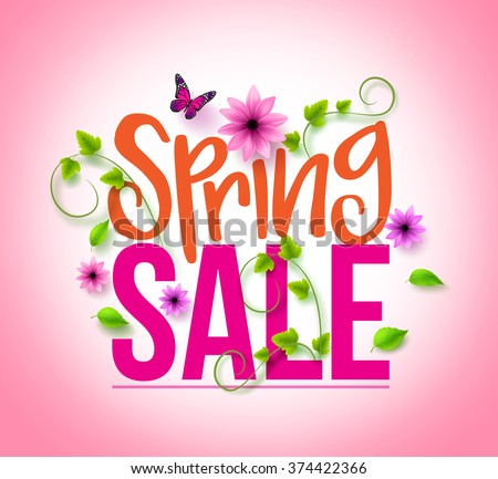 Spring sale design colorful flowers vines stock vector 374422366 spring sale design with colorful flowers vines and leaves with flying butterflies in background for mightylinksfo