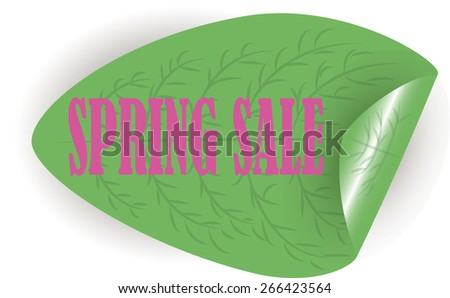 Spring sale. Pink letters on a green leaf. Sticker. Vector. - stock vector