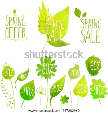 Spring sale vector green elements, labels and badges. Hand painted with watercolor plants, twigs, leaves.  - stock vector