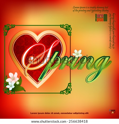 Spring  scene background with heart filled by arabesque:Nice bouquet of flowers; Seasoned coloring on backdrop and ornamental frame.   - stock vector