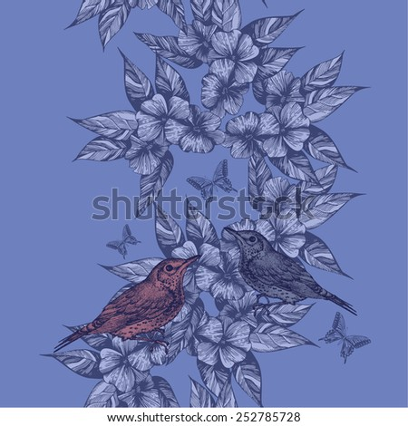 Spring seamless background with birds and butterflies, hand-drawing. Vector illustration. - stock vector