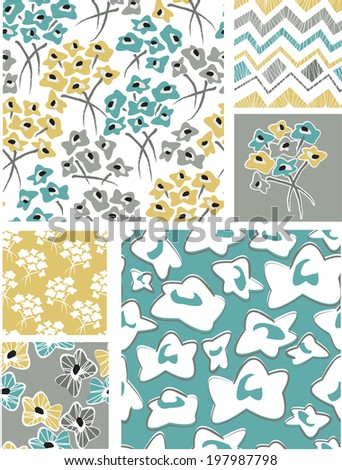 Spring Seamless Floral Vector Patterns. Use as fills or print off onto fabric to create unique items. - stock vector