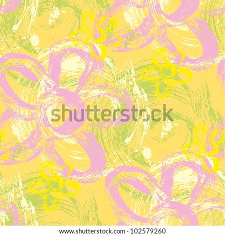 Spring seamless pattern made of wild strokes of daisy and spirals - stock vector