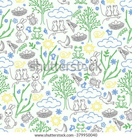 Spring seamless pattern. Plants, flowers, birds and animals. Vector illustration. - stock vector