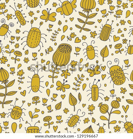 Spring seamless pattern. Vintage floral background with cute insects
