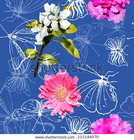 Spring seamless pattern with flowers and butterflies - stock vector