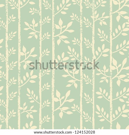 Spring seamless pattern with tender hand painted twigs. Elegance pastel endless background