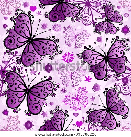 Spring seamless white pattern with violet butterflies (vector eps 10) - stock vector