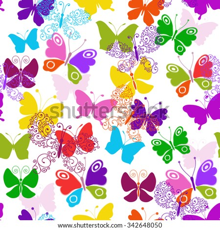 Spring seamless white pattern with vivid colorful butterflies vector eps 10 - stock vector
