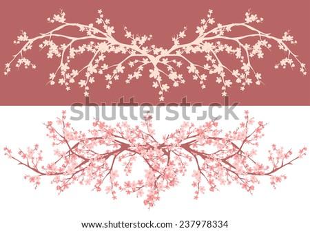 spring season asian style cherry blossom - sakura branches decorative vector design - stock vector