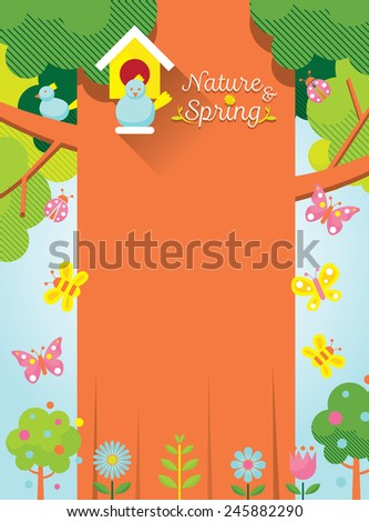Spring Season Background with Bird & Big Tree