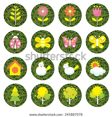 Spring Season Object Icons Set