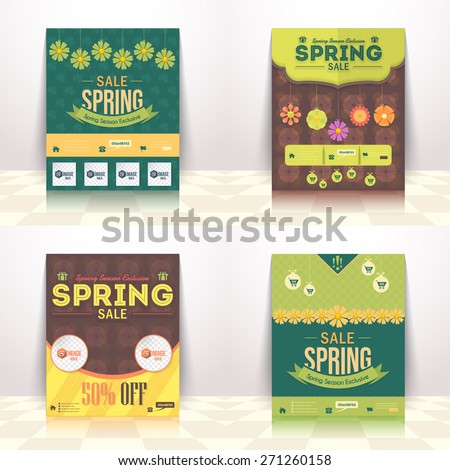 Spring Season Sale Flat Background, Announcement, Flyer, Poster Design - stock vector