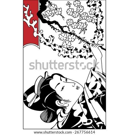 spring season vector background with beautiful Japanese geisha and sakura flowers. Vintage hand draw art. Set of illustrations - stock vector