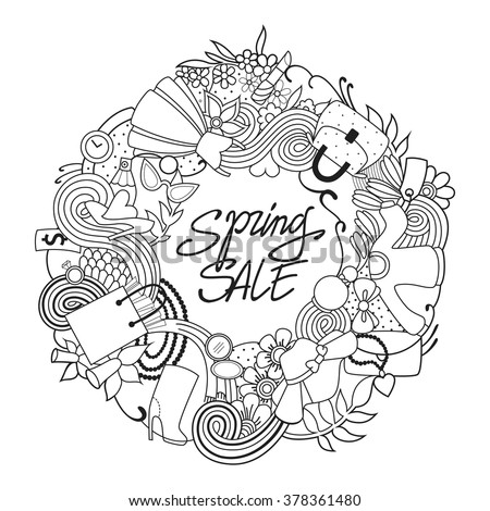 Spring shopping template adult coloring page vector illustration