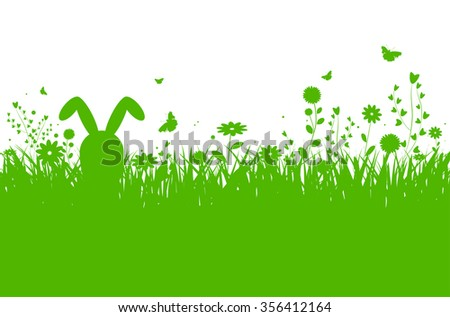 Spring silhouette easter background with abstract grass, flowers, bunny and butterflies - vector illustration - stock vector