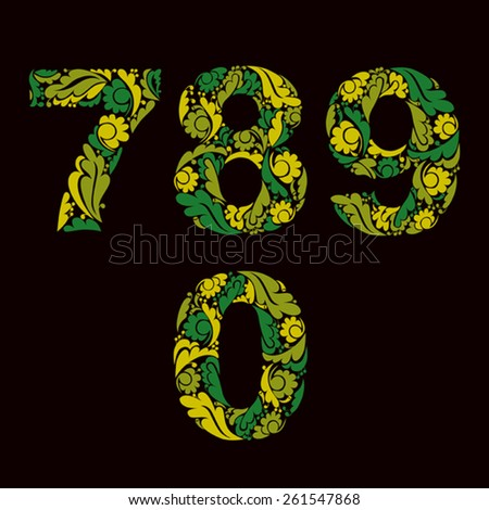 Spring style green vector digits, numbers with eco floral ornament. 7, 8, 9, 0. - stock vector