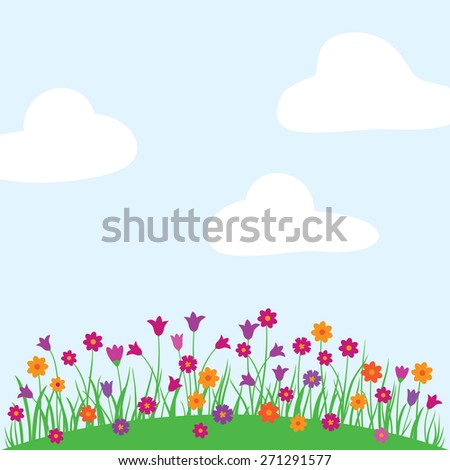Spring, summer background with bright wildflowers and white clouds. Greeting card. Congratulation. Elements for your design. Vector illustration.
