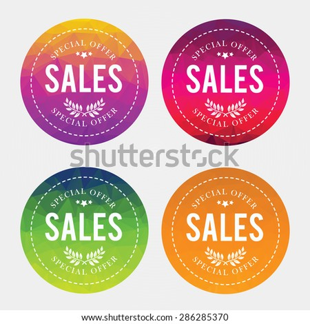 Spring,Summer, Fall, Winter offer stickers with geometric background. Big sale. Vector Illustration. - stock vector