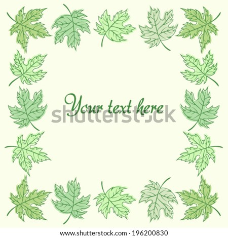 Spring, Summer maple leaves frame with text. Vector illustration.