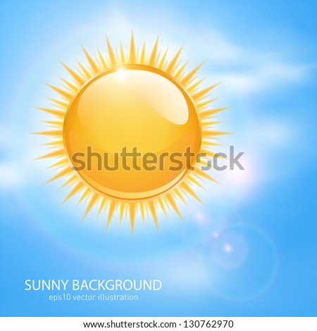 Spring, sunny background with sun and clouds. - stock vector
