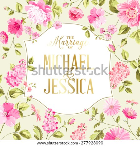 Spring syringa flowers background for the romantic design. Vector illustration - stock vector