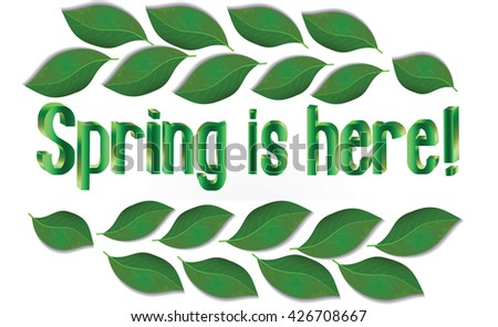 Spring Text with leaves Vector