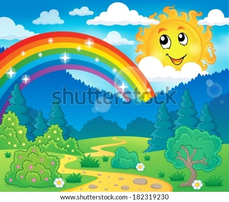Spring theme landscape 6 - eps10 vector illustration.