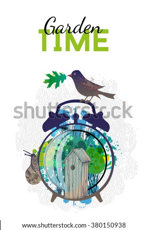 Spring time. Alarm clock with spring elements. Watercolor vector background - stock vector