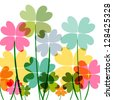 Spring time contemporary transparent flowers isolated over white. EPS10 file version. This illustration contains transparencies and is layered for easy manipulation and customization. - stock photo