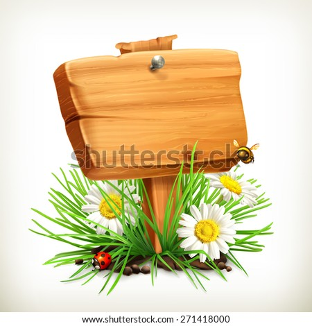 Spring, time for a picnic, wooden sign in a grass, flowers of chamomile, a ladybug and a bee in the garden, vector icon, an universal frame showing the process of springtime - stock vector
