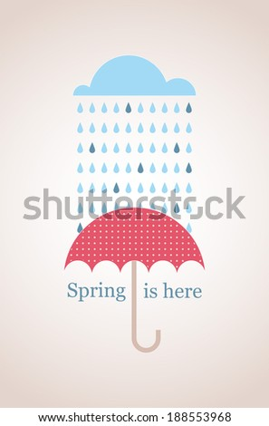 Spring time. Vintage card with cloud and umbrella  - stock vector