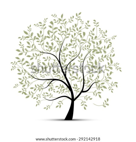 Spring tree green for your design, vector illustration - stock vector