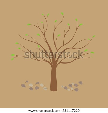 Spring tree on the brown background, vector image
