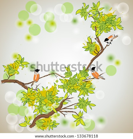 spring tree with birds - stock vector