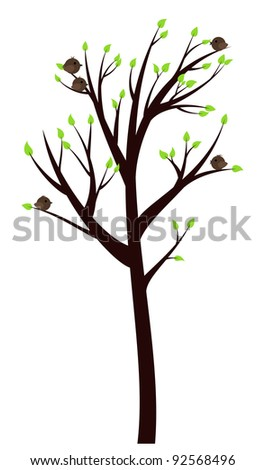 Spring Tree with early leaves and cheerful birds on it - stock vector