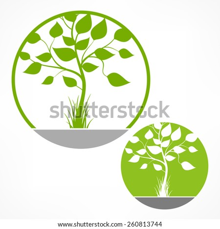 Spring tree with green leaves in round on white, vector illustration - stock vector