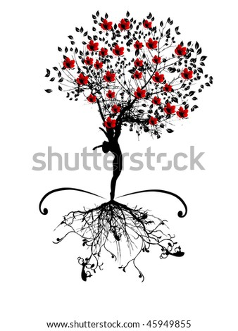 spring tree with women silhouette - stock vector