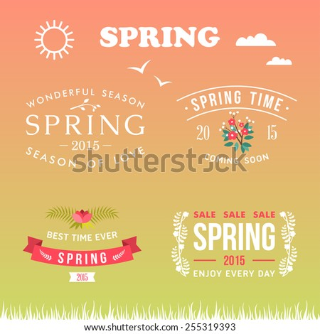 Spring typographic design. Set of labels and badges