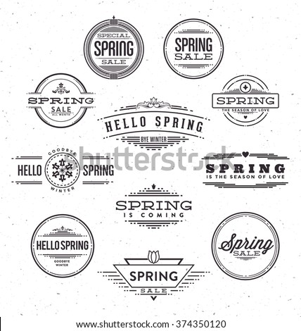 Spring Typographic Design Set - Spring Themed Line Design Label Collection - stock vector