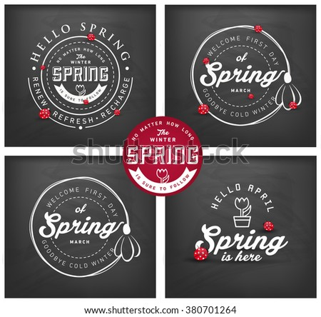 Spring Typographical Background Set on Chalkboard - stock vector