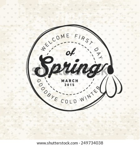 Spring Typography Background in Vintage Style - stock vector