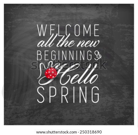 Spring Typography Background on Chalkboard - stock vector